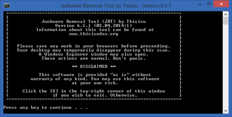 Junkware Removal Tool 8.1.4.0