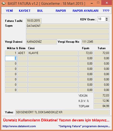 Basit Fatura Takip 1.4