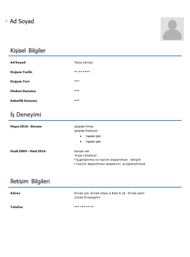 Hazır Boş CV Ve Özgeçmiş Örnekleri