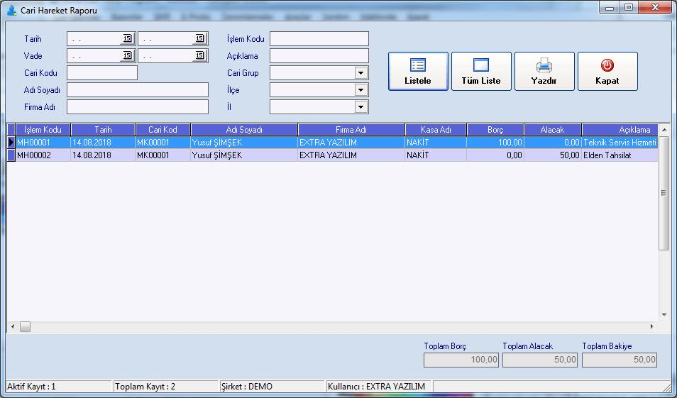 Extra Ücretsiz Cari Takip Programı 2.1.0.0